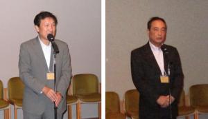 小林正則小平市長(左)と浅倉成樹小平市議会議長
