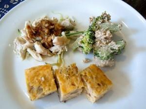 ブロッコリーの白和え、中華風卵焼き、鶏々棒(バンバンジー)