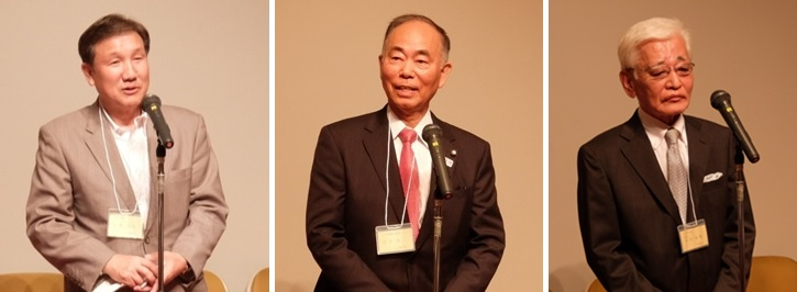 左から、挨拶する小林市長、宮寺市議会議長、田村小平三田会会長