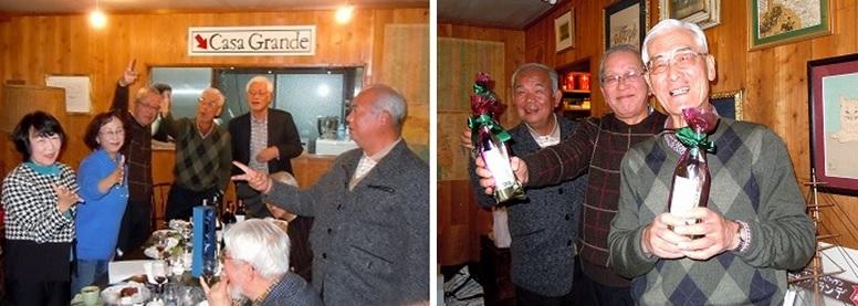最終戦まで勝ち残った6人(左)と、賞品を勝ち取って笑顔の篠原・早川・国友さん