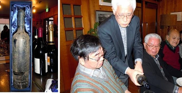 海底熟成ワイン「サブリナ」。まず提供者の志村さんへ