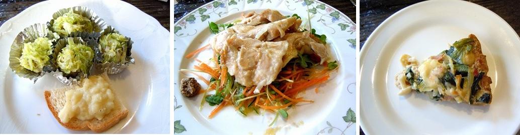 左から、キャベツしゅうまい わさび入りマッシュポテト、鶏もも肉の酒蒸し、きのこと小松菜のキッシュ