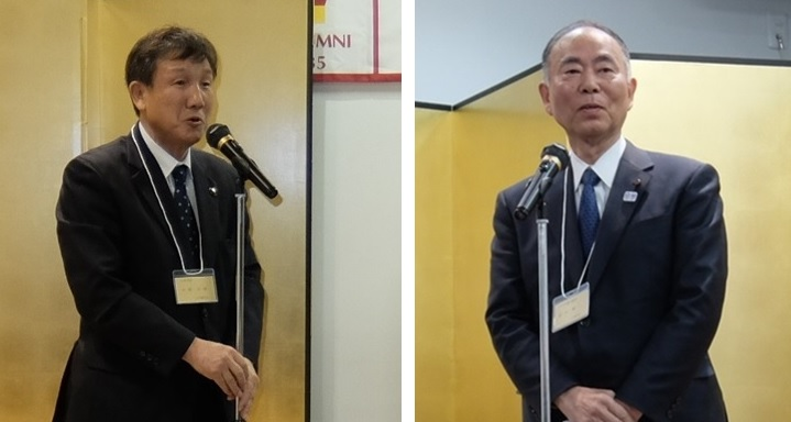 来賓のご挨拶。左・小林小平市長、右。宮寺小平市議会議長