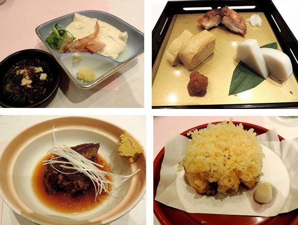 上段㊧前菜の豆腐、㊨盛り合わせ板わさ、玉子焼き、鳥焼き 下段㊧蓋物豚の返し煮、㊨名物小海老と大葉のかき揚げ