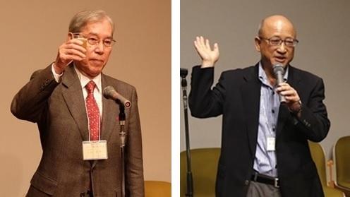 【左】乾杯の音頭をとる古賀支部長 【右】新入会員の若林さん