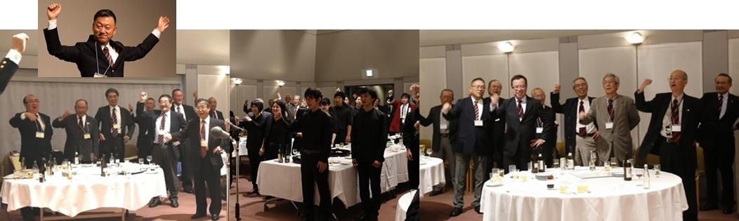滝口さん(左上)のリードにより、全員で「都の西北」の大合唱。振り上げる拳に力がこもる